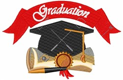 Graduation Cap & Diploma embroidery design