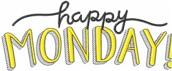 Happy Monday! embroidery design