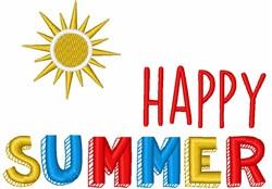 Happy Summer Sun embroidery design