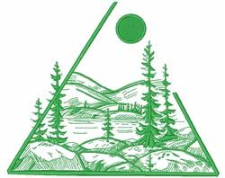 Triangle Mountain Scene embroidery design