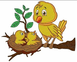 Kawai Bird & Chicks embroidery design