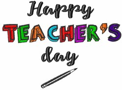 Happy Teachers Day embroidery design
