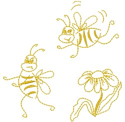 Bees & Daisy embroidery design