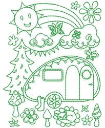 Camper Outline embroidery design