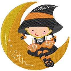 Witch On Moon embroidery design