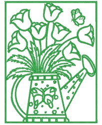 Tulip Water Can embroidery design