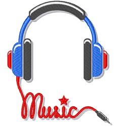 Music Earphone embroidery design
