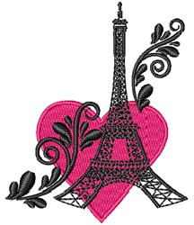 Love Eiffel Tower embroidery design