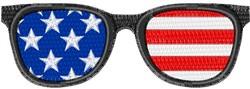 Flag Glasses embroidery design