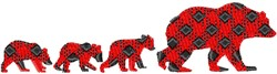 Patterned Bear Family embroidery design