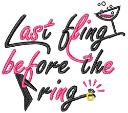 Fling Before The Ring embroidery design