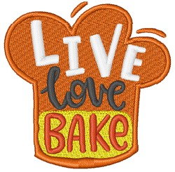 Live Love Bake embroidery design