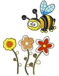 Kawaii Bumblebee & Flowers embroidery design