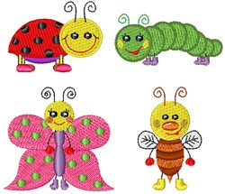 Kawaii Insects embroidery design