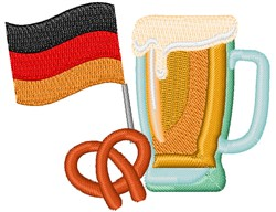 German Beer & Pretzel embroidery design