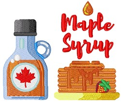 Maple Syrup & Pancakes embroidery design