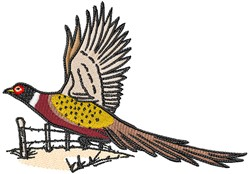 Flying Pheasant embroidery design