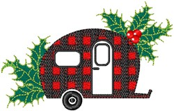 Plaid Christmas Camper embroidery design