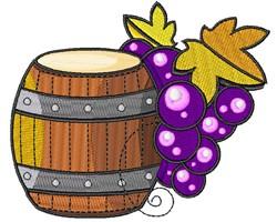 Cartoon Wine Barrel Grapes embroidery design