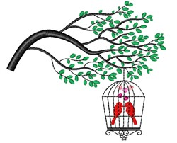 Cardinals In Birdcage embroidery design