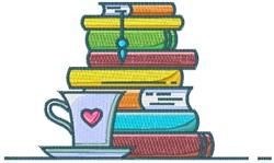 Books & Tea embroidery design