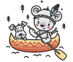 Indian Bear & Dog Canoeing embroidery design