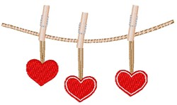 Valentine's Day Hearts Clothesline embroidery design