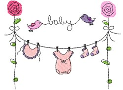 Baby Clothesline & Roses embroidery design