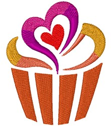 Swirling Heart Cupcake embroidery design