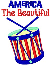 America The Beautiful Drum embroidery design