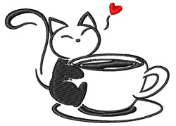 Coffee Kitty embroidery design