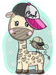 Cool Giraffe embroidery design