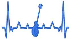 Guitar Heartbeat embroidery design