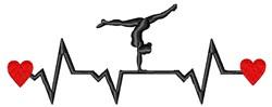 Gymnast Heartbeat embroidery design