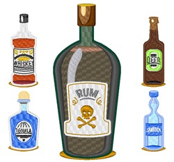 Alcohol Bottles embroidery design