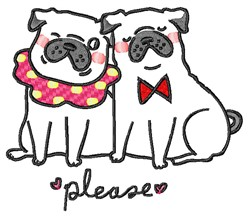 Please Pugs embroidery design