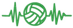 Volleyball Heartbeat Outline embroidery design