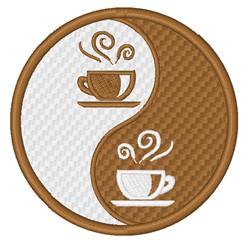 Coffee Yin Yang embroidery design