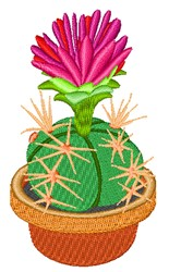 Flowering Potted Cactus embroidery design