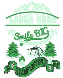 Smile Big Camp Often embroidery design