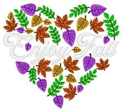 Enjoy Fall Heart embroidery design