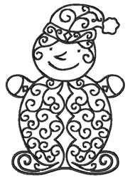 Blackwork Swirly Elf embroidery design