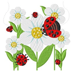 Daisies & Ladybugs embroidery design