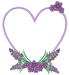 Lavender & Heart embroidery design