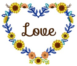 Floral Heart Love embroidery design
