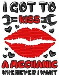 Kiss A Mechanic embroidery design