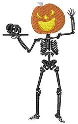 Pumpkin Headed Skeleton embroidery design