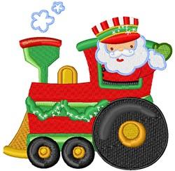 Cartoon Santa Train Engineer embroidery design