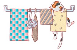 Cat On Towel Rack embroidery design
