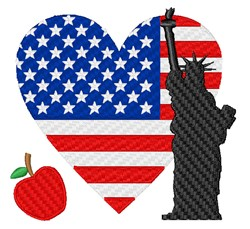 American Flag Heart embroidery design